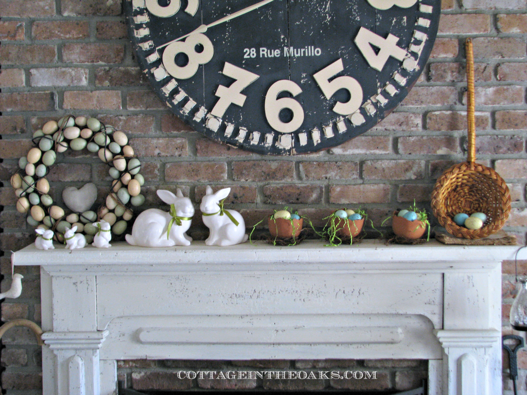 Cottage in the Oaks - spring mantel