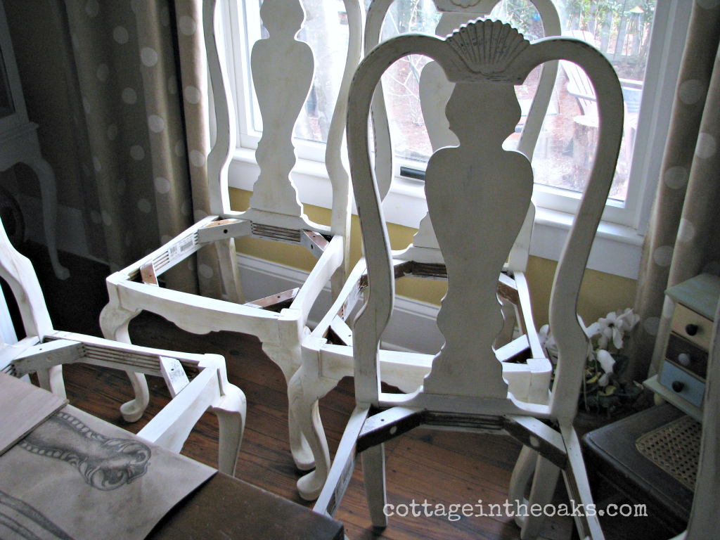 Chalk Painted Chairs & How To Cover Chair Cushions Grain Sack - Cottage in the Oaks