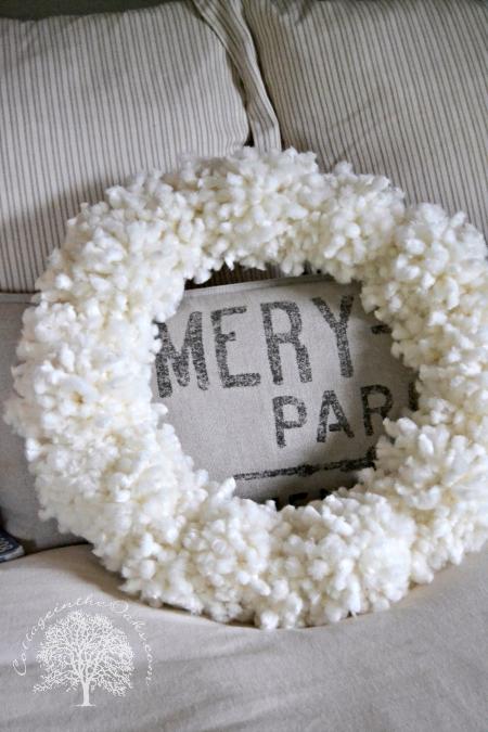 Wool tufted wreath