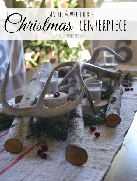 White Birth And Antler Christmas Centerpiece_ Cottage In The Oaks