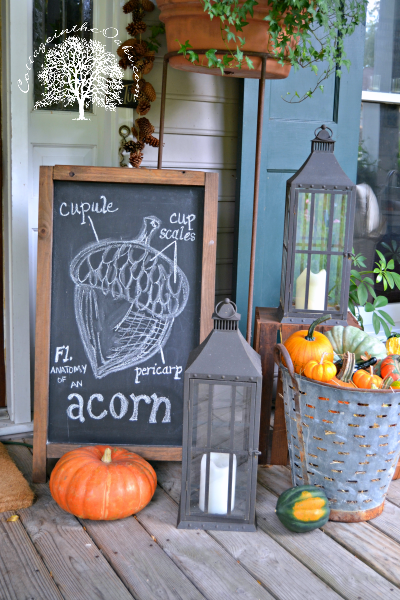 Autumn Chalkboard Art on the front porch
