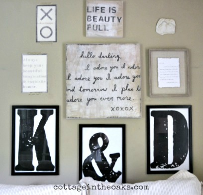 Bedroom Gallery Wall ::: DIY Oversized Framed Letters - Cottage in ...