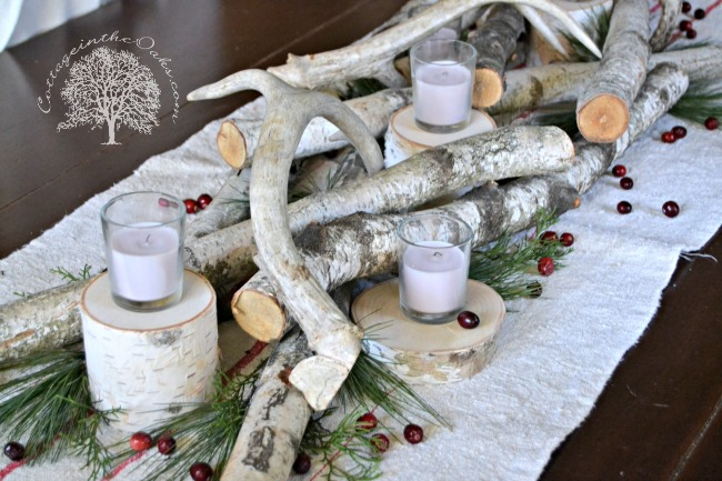 White Birch And Antler Christmas Centerpiece