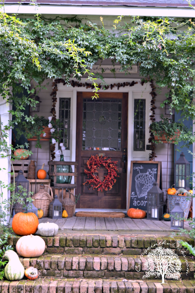 Autumn Front Porch Cottage In The Oaks