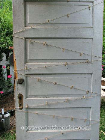 Mini Clothespins on Vintage Door