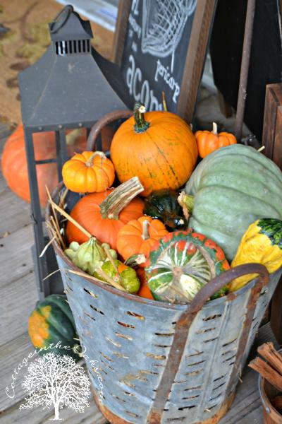Autumn vintage olive bucket