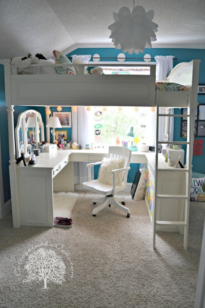 Teen Girl Loft Bed with Desk 400 x 600