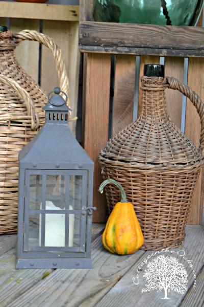 autumn vignette on porch